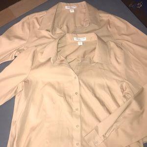 Coldwater Creek Tan Long Sleeve Shirt 14 set of 2